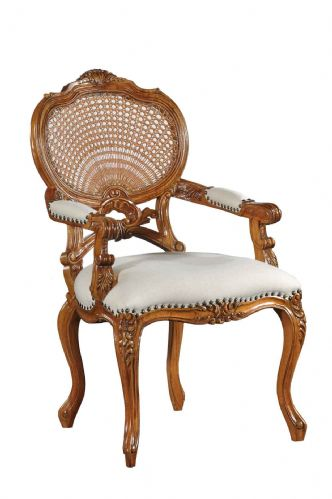 Elegant Rattan Chair with Fabric Seat